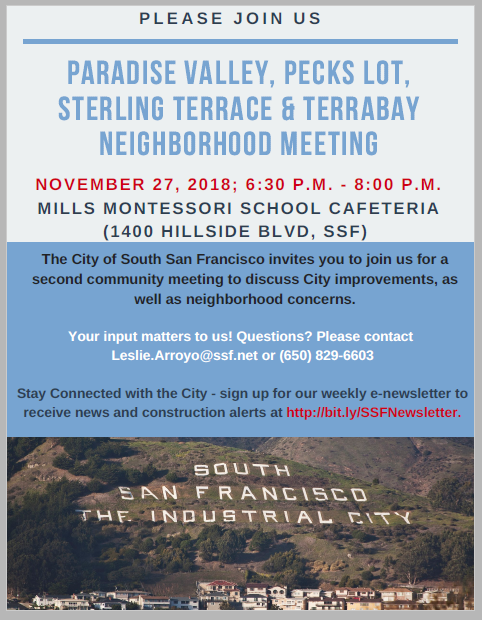 Sister Cities/Hillside Community Meeting   City Calendar