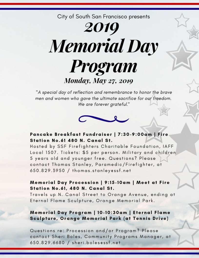 2019 Memorial Day Program | Calendar Agenda List | City of