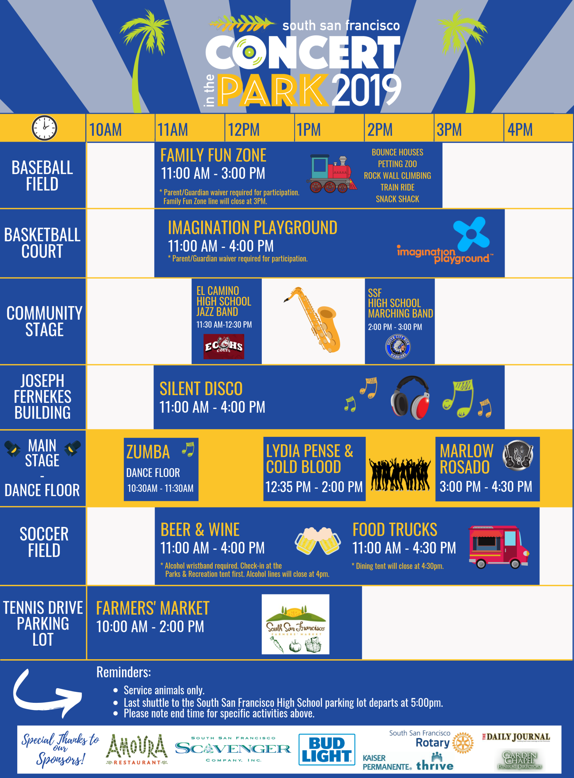 2019 Concert in the Park Schedule